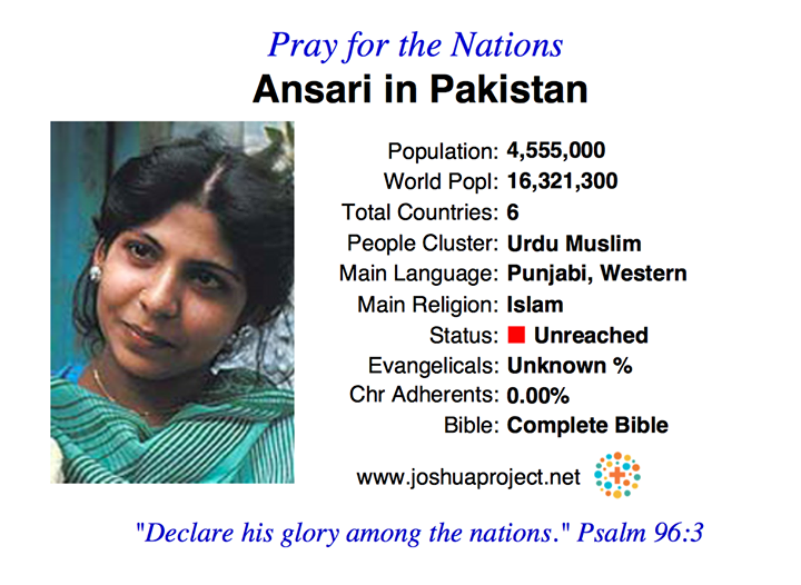 Pakistan has over 400 Unreached People Groups.  The Joshua Project has identifie…