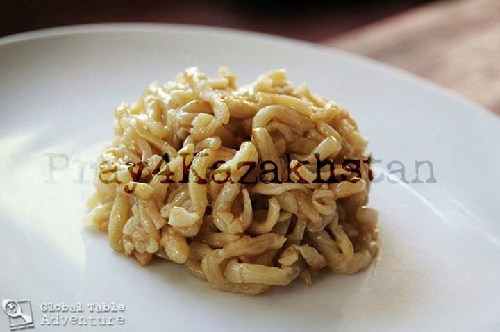 With only 4 simply ingredients: noodles, butter, honey, and sugar, one of Kazakh…